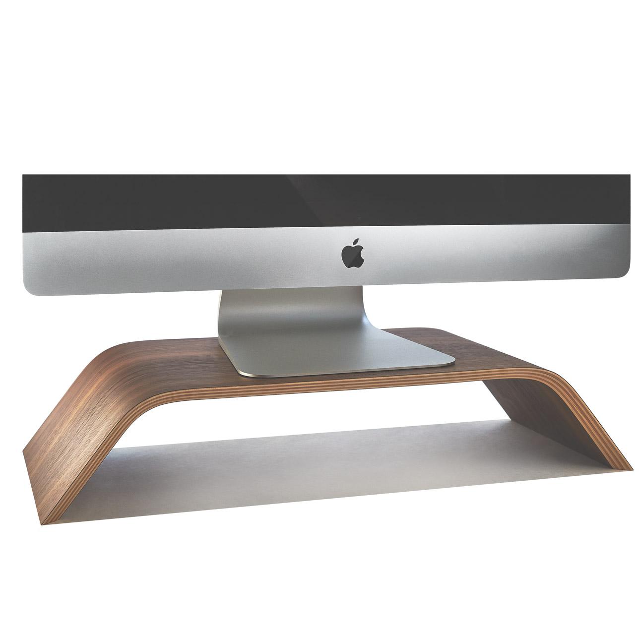 Wooden Monitor Stand Amp Desktop Walnut Imac Riser