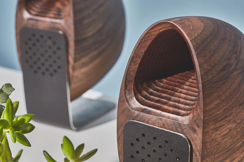 Wooden Speaker System Walnut Steel Leather Cork Base