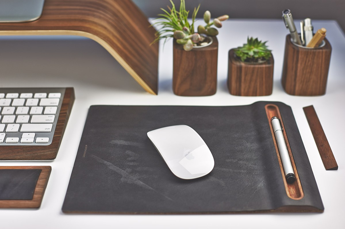 Leather Mouse Pad Amp Wood Tray Mouse Mat With Cork Base