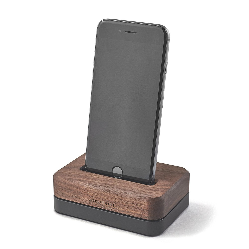 Wood Iphone Docking Station 3 Lb Black Stainless Steel Stand