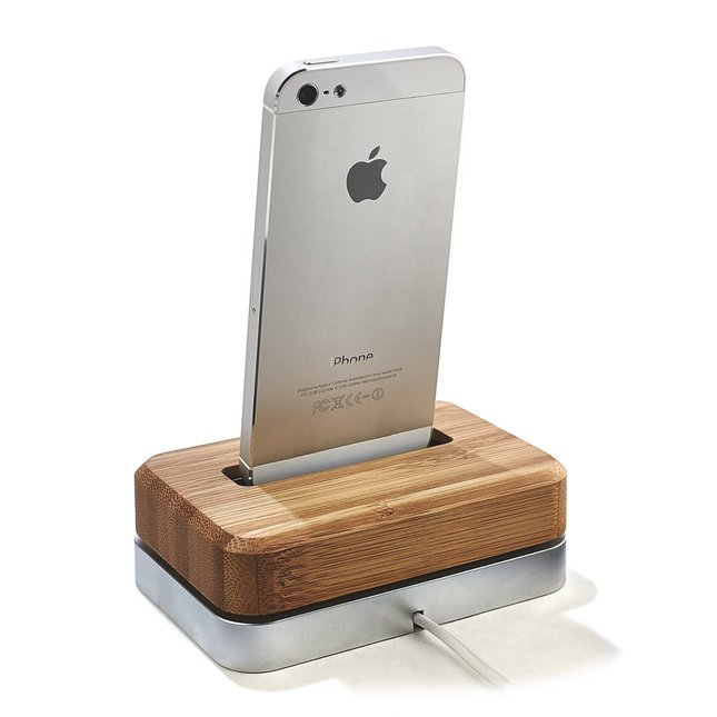 BAMBOO IPHONE DOCK - STAINLESS-STEEL