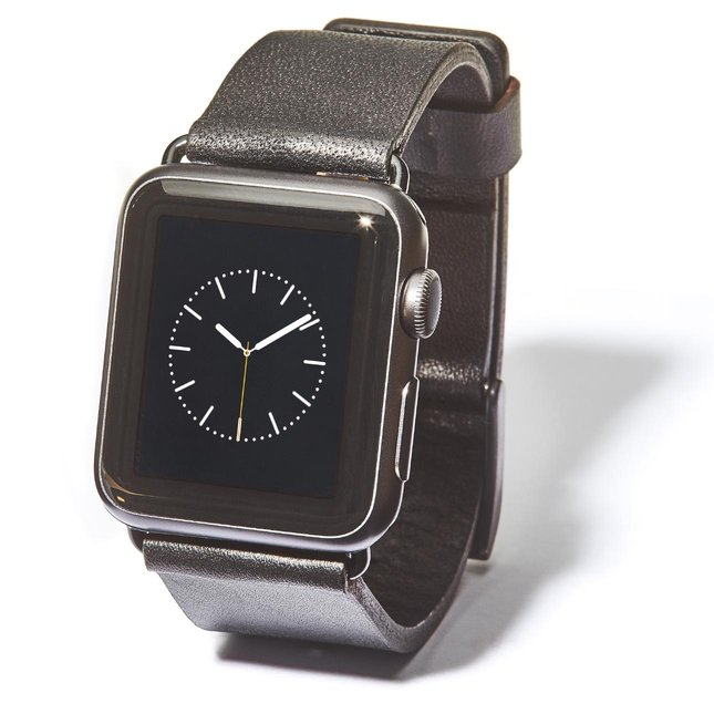 Black Leather Apple Watch Band (Black Hardware) - 42MM