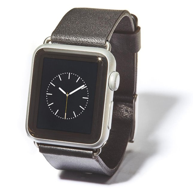 Black Leather Apple Watch Band (Silver Hardware) - 42MM