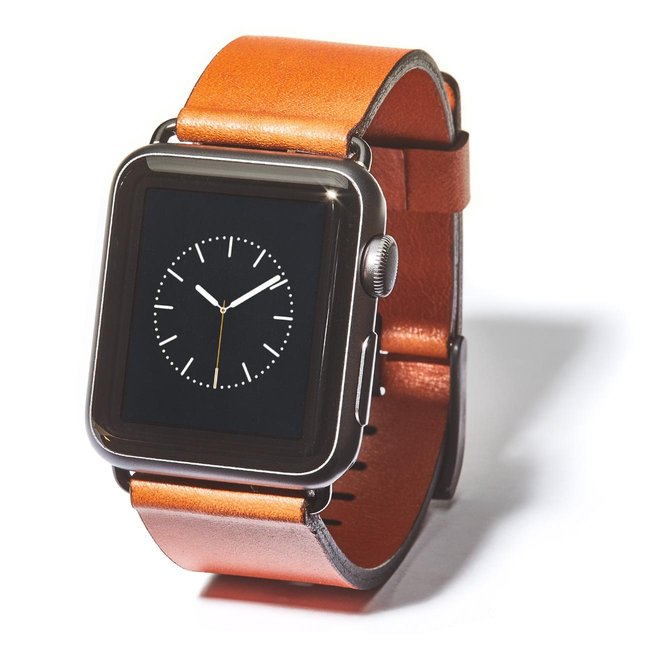 Tan Leather Apple Watch Band (Black Hardware) - 42MM