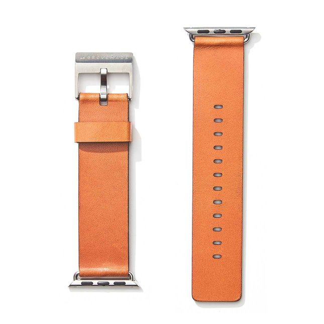 Tan Leather Apple Watch Band (Silver Hardware) - 42MM