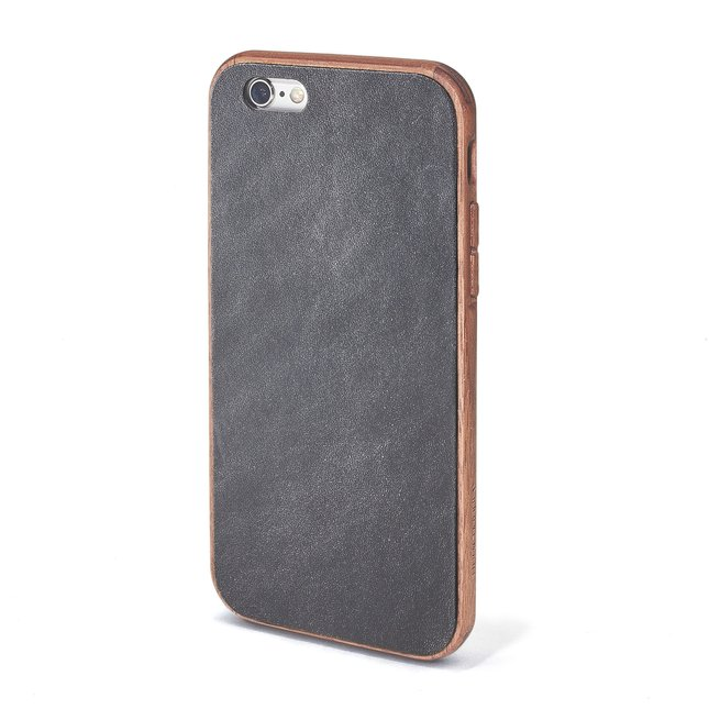 Walnut & Leather iPhone Case - IPHONE-7-JET-BLACK-SILVER-GOLD-ROSE-GOLD