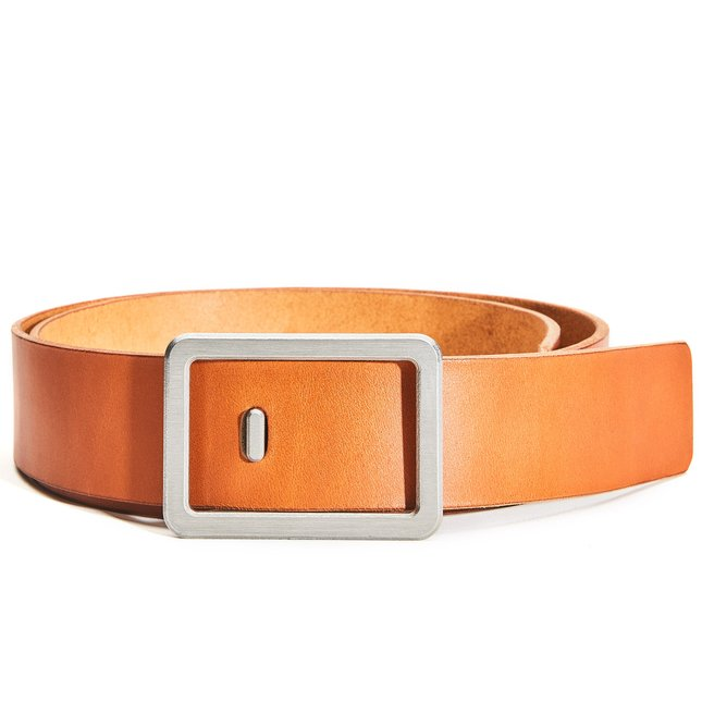 Minimalist Belt (Tan/Silver) - MEDIUM-PANT-SIZE-34-36