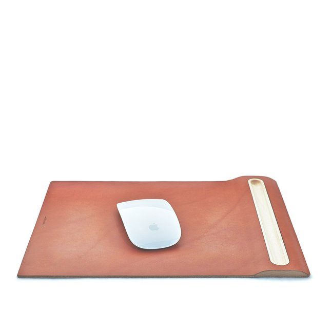 LEATHER & MAPLE MOUSE PAD - MAPLE