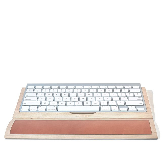 Leather & Maple Keyboard Wrist Pad -