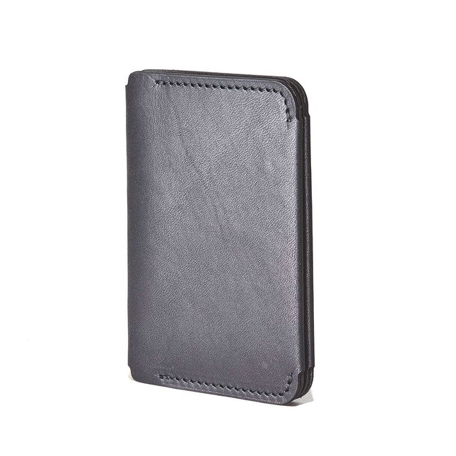 Black Leather Compact Bifold Wallet -