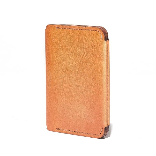 Tan Leather Compact Bifold Wallet -