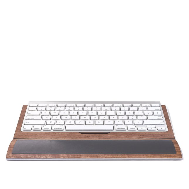 LEATHER & WALNUT KEYBOARD WRIST PAD - WALNUT